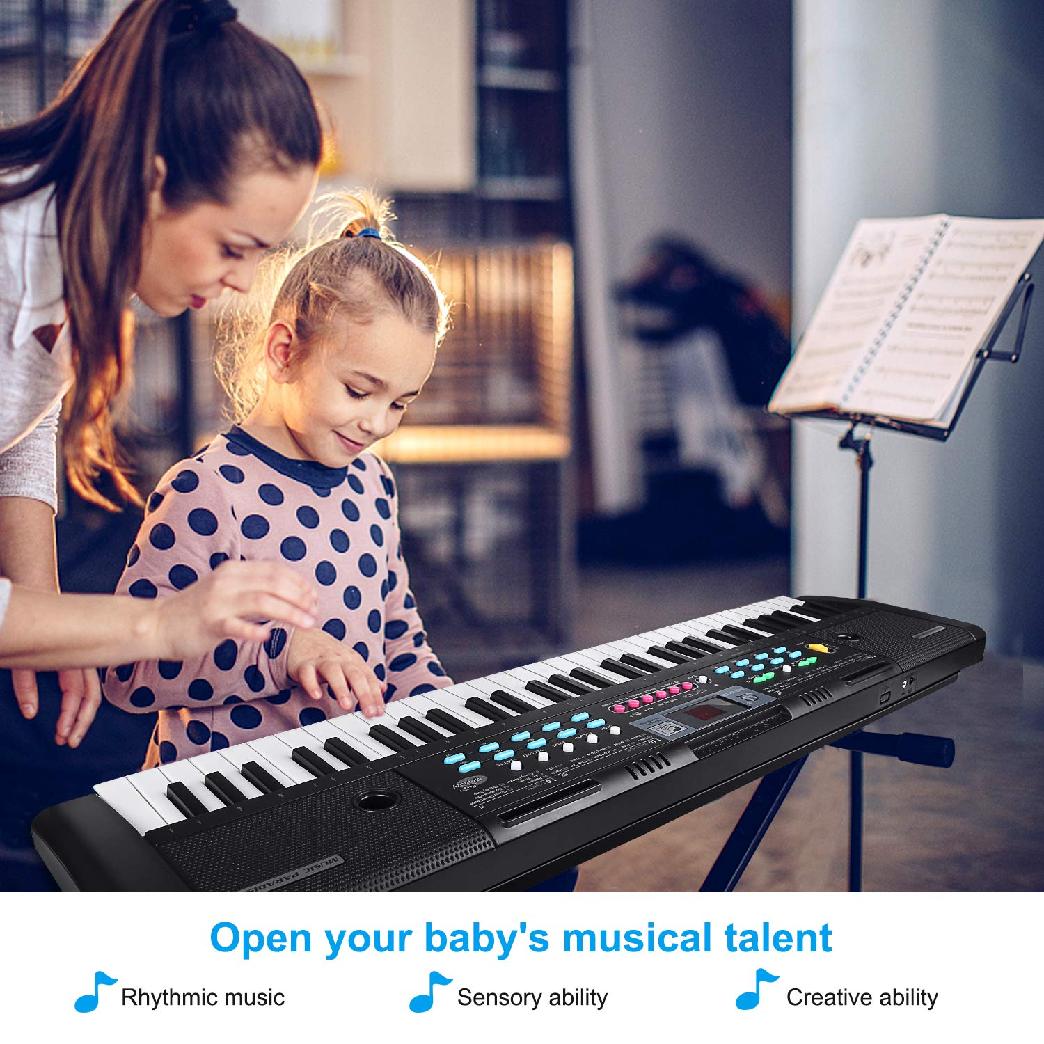ZJTL 61-Key Digital Electric Piano Keyboard & Music Stand & microphone- Portable Electronic Keyboard (Kids & Adults) MQ-6112 by ZJTL (Image #7)