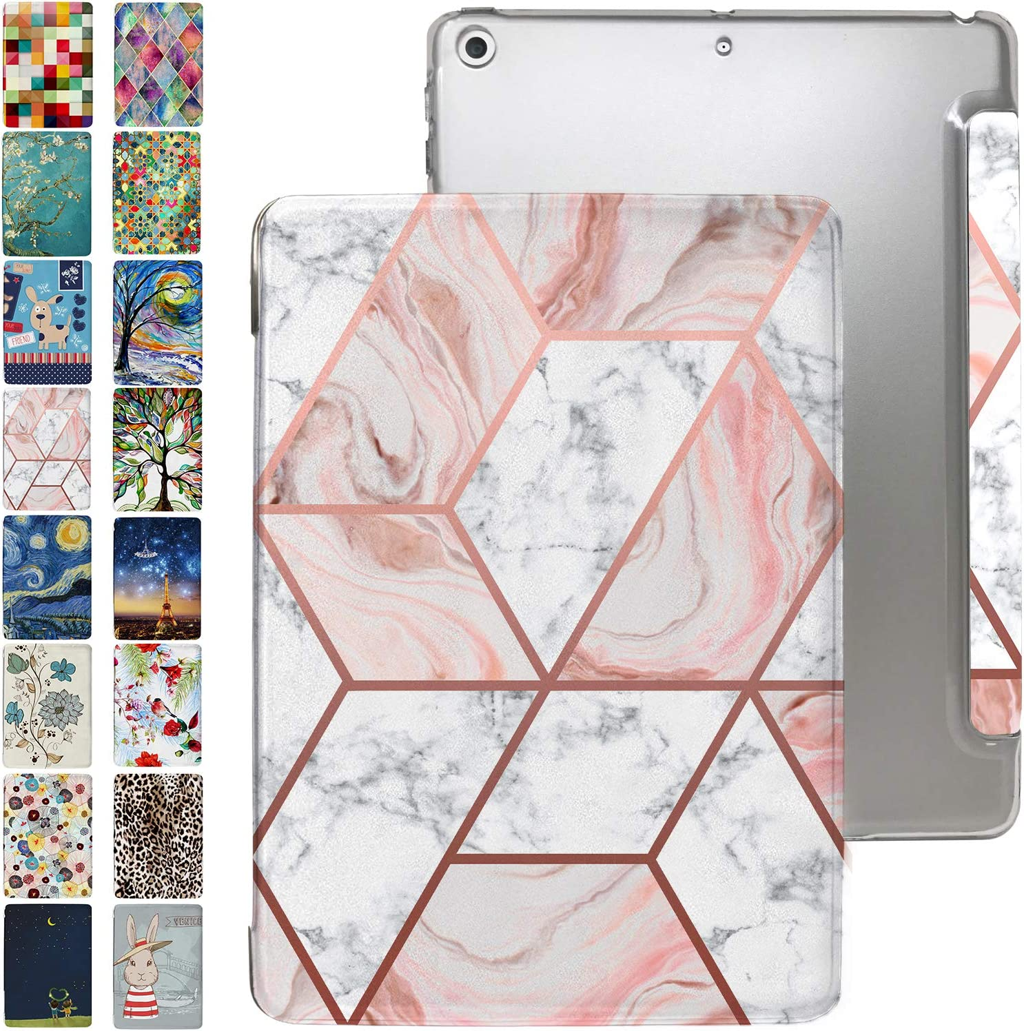 "iPad PRO 10.5 Case 2017 / Air 3rd Generation 2019 with Slim Fit Dual-Angel Stand & Hard PC Clear Back [Protective Smart Cover] for 10.5"" iPad PRO/Air 3 Gen [Auto Sleep/Wake] - Printed Pink Marble"