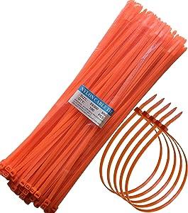 """12"""" Heavy Duty Self Locking Nylon Cable Zip Ties,100 Pcs (Orange)"""