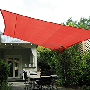 TANG Sunshades Depot 16' x 20' Sun Shade Sail Rectangle Permeable Canopy Red Customize Commercial Standard 180 GSM HDPE
