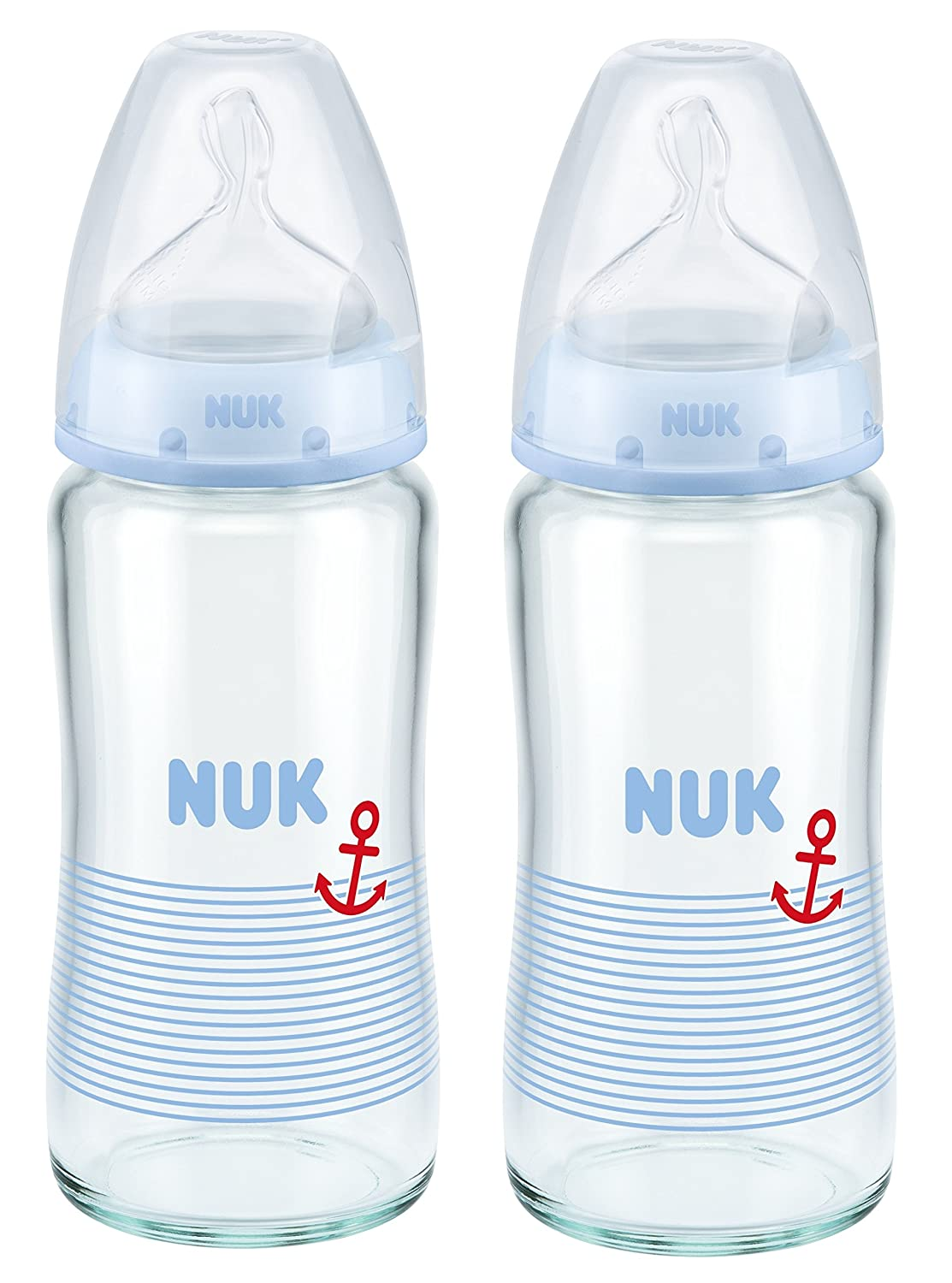 NUK First Choice 240ml Glass Bottle with 0-6mths Latex Teat 1 Pack