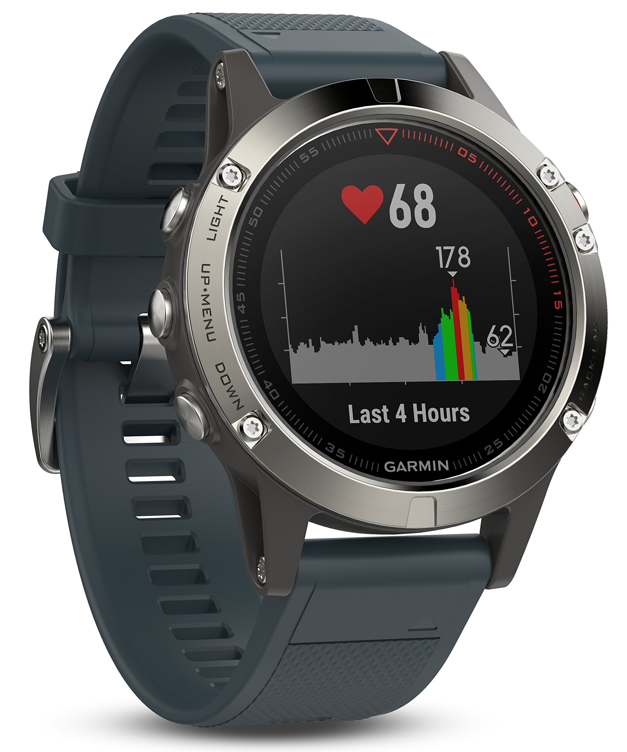 Garmin fēnix 5s, Premium and Rugged Smaller-Sized Multisport GPS Smartwatch, Silver/Turquoise