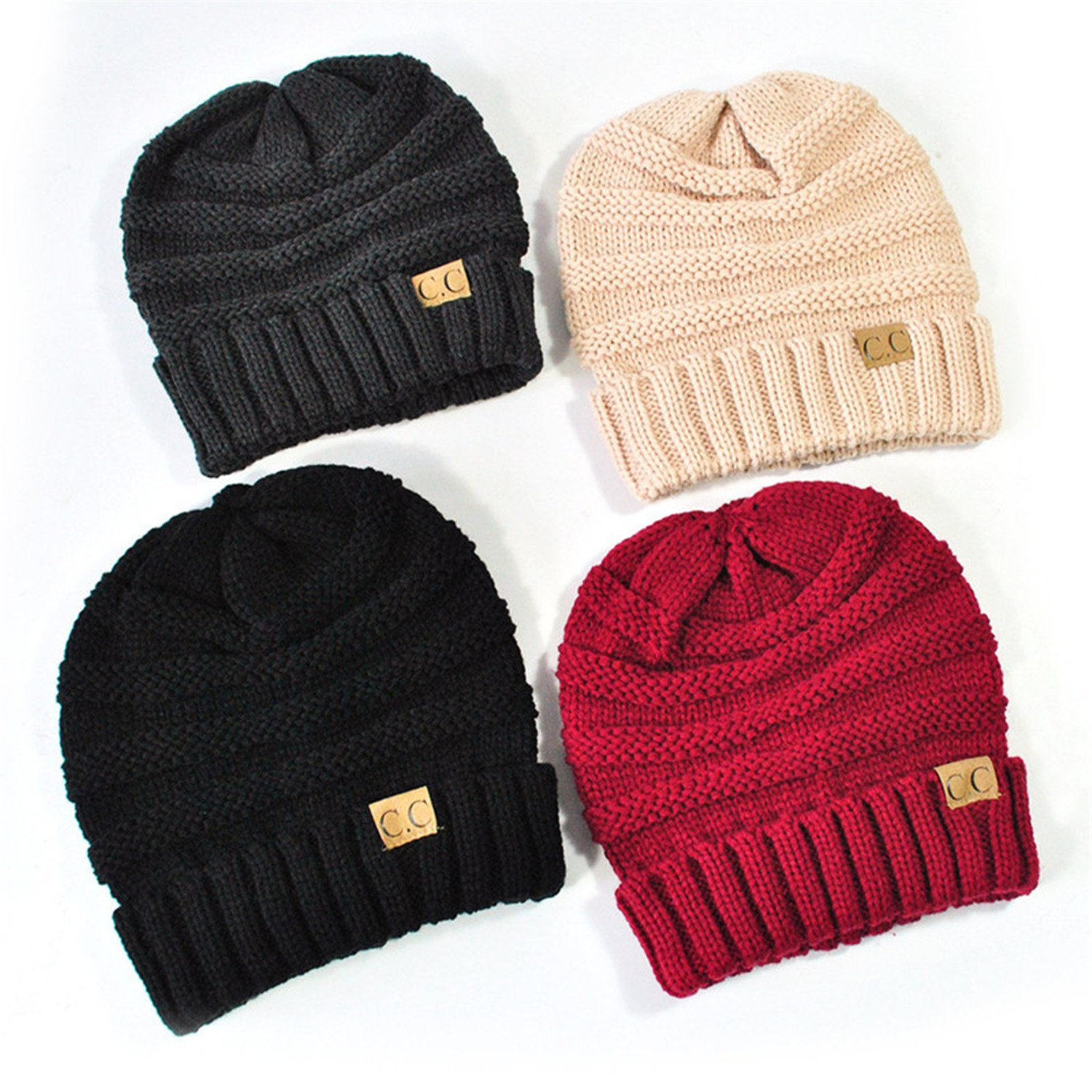 1b82a9ad4bd Amazon.com  Gome-z 13 colors Unisex Winter Knitted Wool Cap Women Men Folds  Casual CC labeling Beanies Hat Solid Color Hip-Hop Beanie Hat Gorros Pink   ...