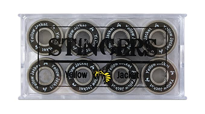 Yellow Jacket Premium Skateboard Bearings, Pro Longboard Bearings, 608, ABEC (Pack of 8)