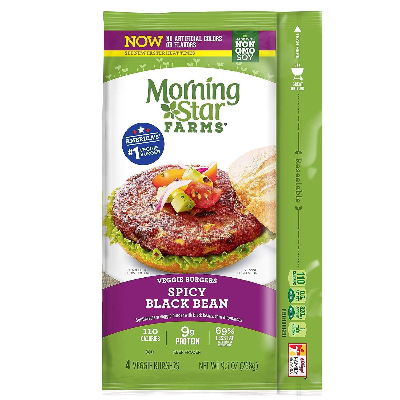 Morningstar Farms, Veggie Burgers, Spicy Black Bean, Vegetarian, 9.5 oz (4 Count)