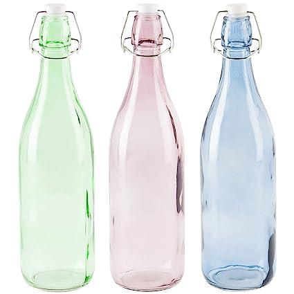 LEVIVO Set de 3 Botellas de Vidrio, Azul, Desnudo y Mint, 8 cm, 3 Unidades