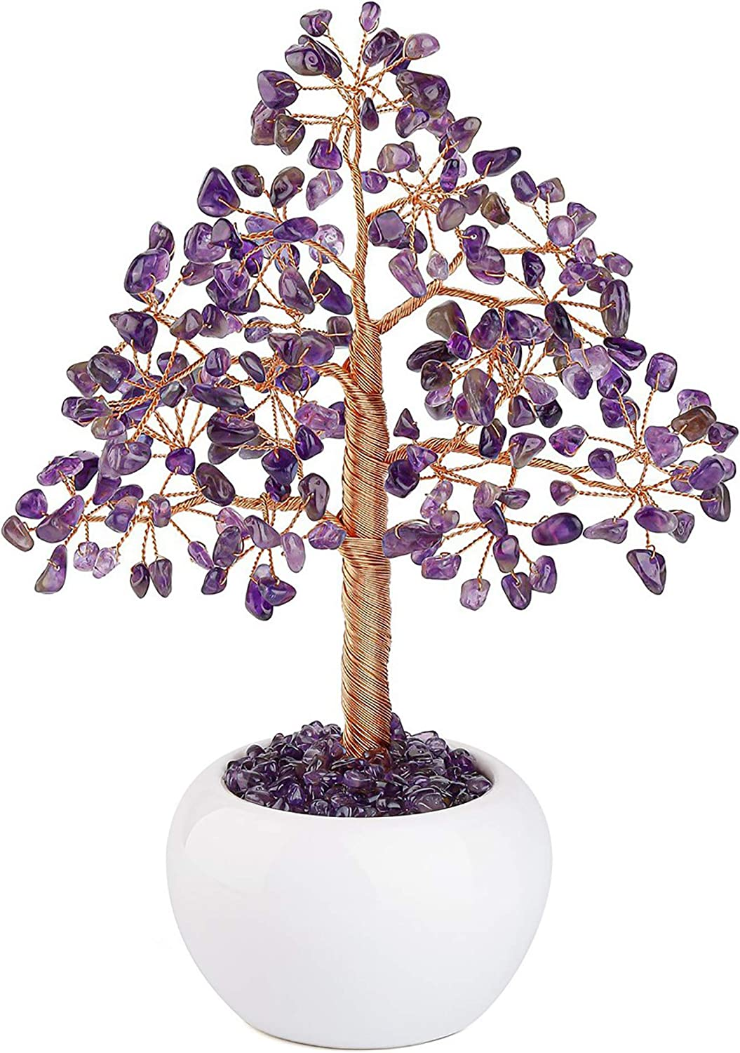 CrystalTears Amethyst Crystal Money Tree Feng Shui Natural Healing Crystal Gemstone Bonsai Tree for Home Office Decor Good Luck