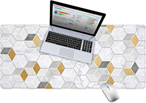 """LuvCase Desk Pad, Office Desk Mat, 31.5"""" x 15.7"""" PU Leather Desk Blotter, Laptop Desk Mat, Waterproof Desk Writing Pad for Office and Home Decor, Thick Gaming Mouse Pad (White Gold Geometric Marble)"""