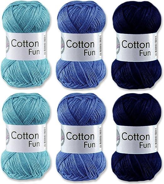 Gründl - Lana de algodón (300 g, 6 ovillos), color azul claro ...
