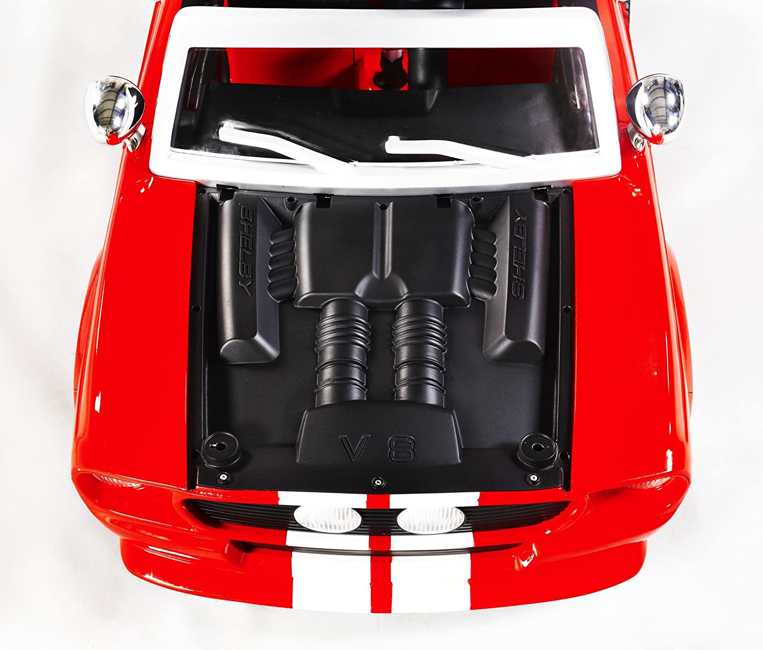 Amazon 12V 1967 Shelby Mustang GT 500 Two Seater Ride On With LEDs And Sounds Red Toys Games