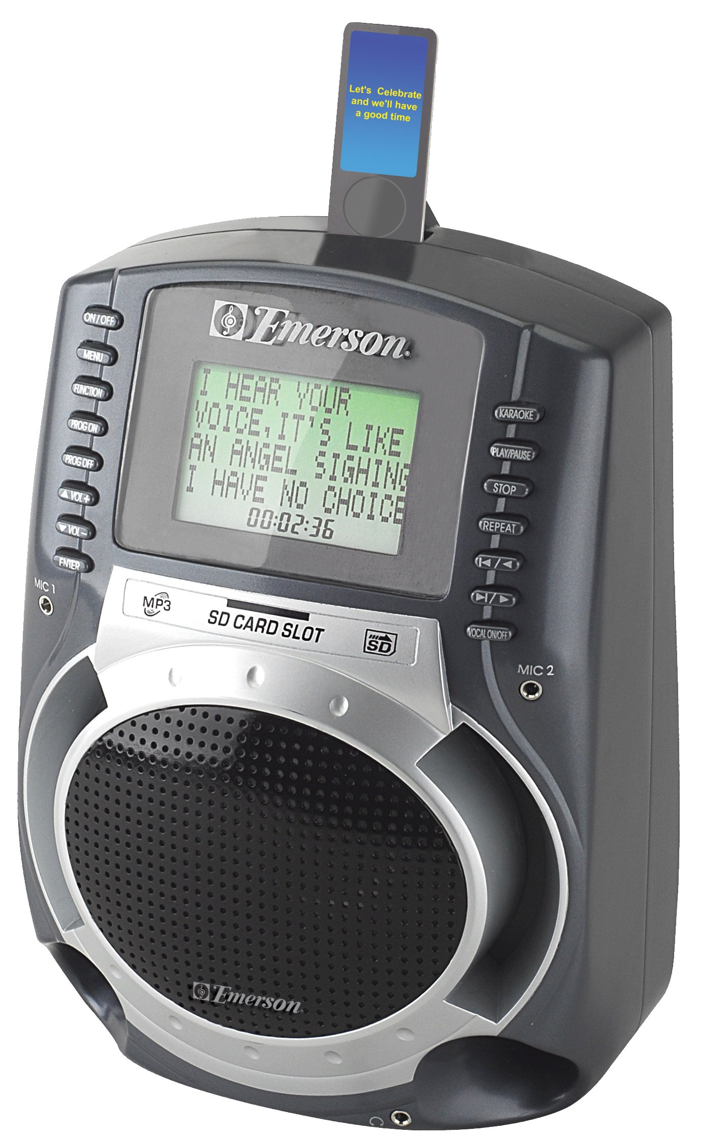 Emerson SD512 Portable SD Karaoke MP3 Lyric Player With 3'' Lyric Screen & 100 Songs Included