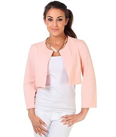 KRISP Womens 3/4 Lace Sleeve Cropped Evening Shrug Short Bolero Cardigan Jacket at Amazon Womens Clothing store: