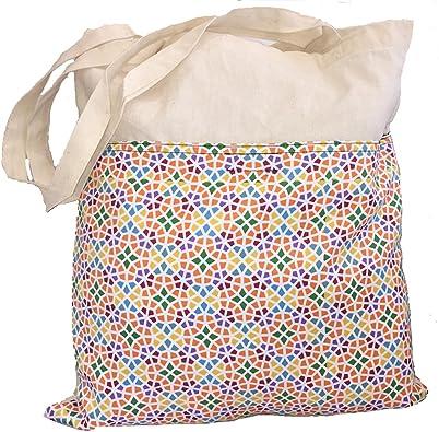 COVERBAGBCN Bolsa Tote de Algodón con Bolsillo Estampado Mosaico ...
