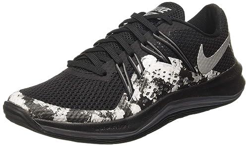 7b65e944597a Nike Women s Lunar Exceed TR Print Training Shoe Black Metallic Silver Dark  Grey Size