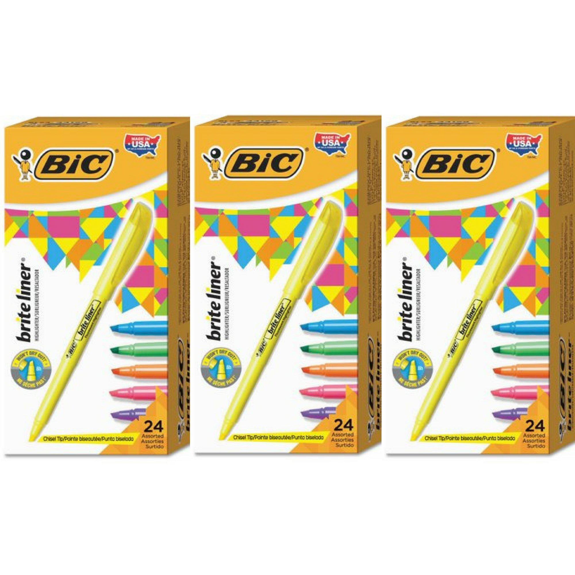 BIC Brite Liner Highlighter, Chisel Tip, Assorted Ink, 24-Pack - 3 Box