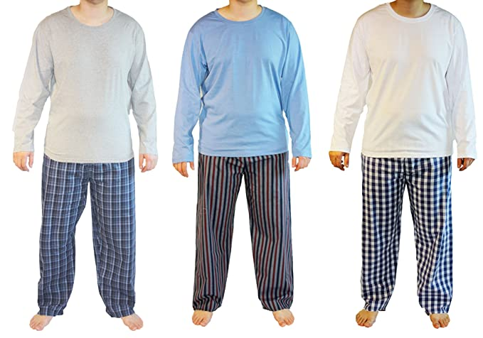 c37a170cfc54fa Haigman Mens Cotton Long Pyjama Lounge Wear (Pack of 3): Amazon.co.uk:  Clothing