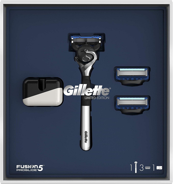 Gillette Fusion5 ProGlide Set de Regalo Maquinilla Edición Limitada con Mango Cromado, 2 Recambios y Soporte