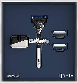 Oferta amazon: Gillette Fusion5 ProGlide Maquinilla de Afeitar Edición Limitada con Mango Cromado + 2 Cuchillas de Recambio + Soporte, Set de Regalo