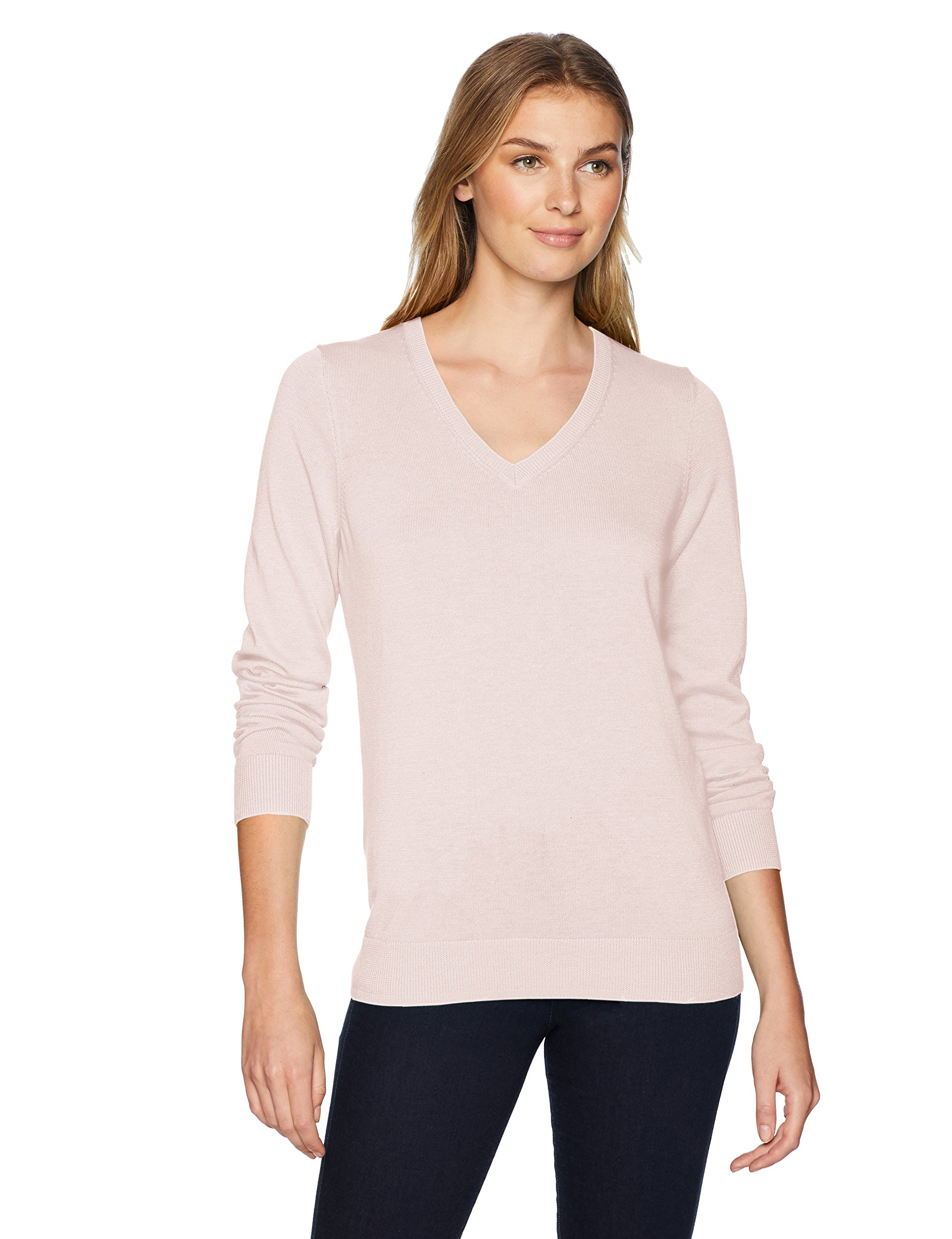 Amazon Essentials Women's Standard V-Neck Sweater, Light Pink, Small