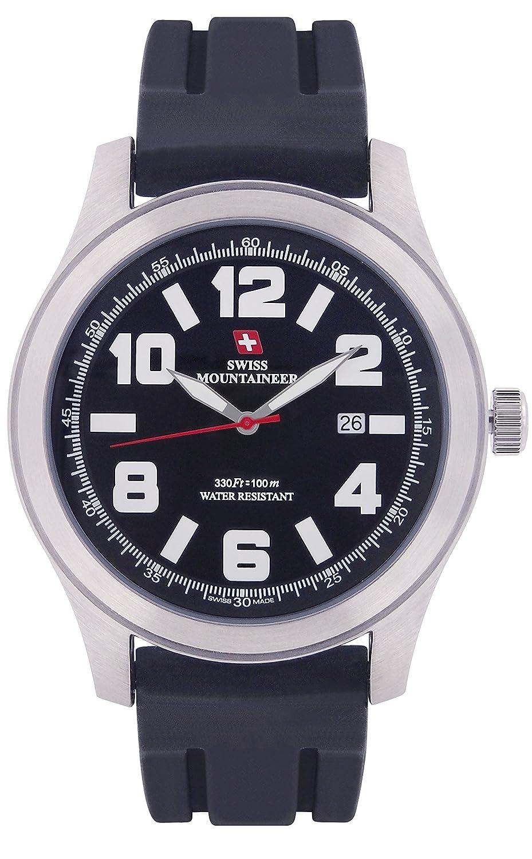 Swiss Mountaineer Herrenuhr Schwarz Silikon-Gummiband Groß Einfache Lesen Sie Zifferblatt Datum SM8040