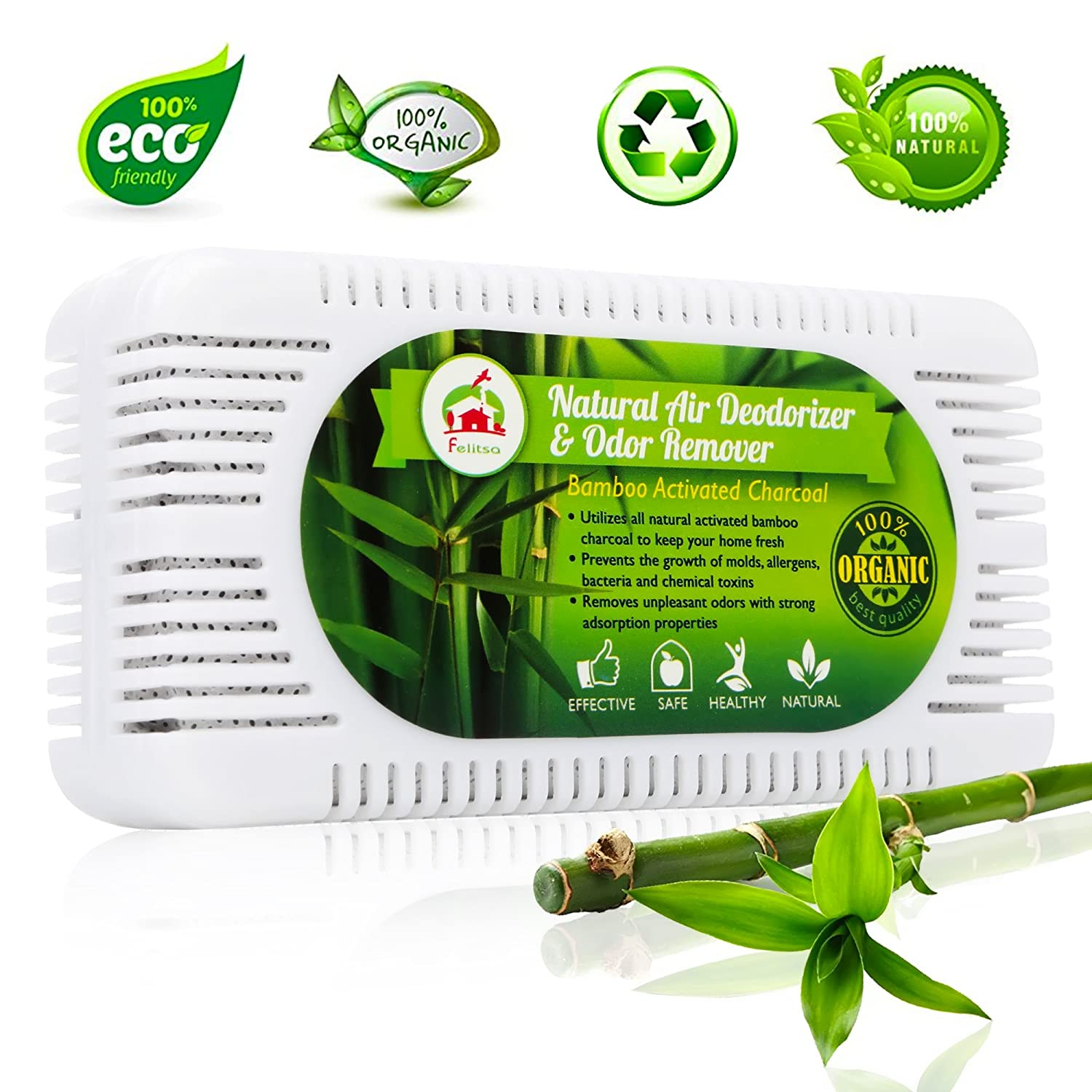 Natural Air Deodorizer And Odor Remover   Activated Bamboo Charcoal Odor  Absorber And Air Purifier   Effective Fridge And Closet Freshener    Charcoal Odor ...