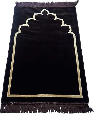 Tapis de pri/ère musulmane tissu doux uni sans motif 120 x 70 cm