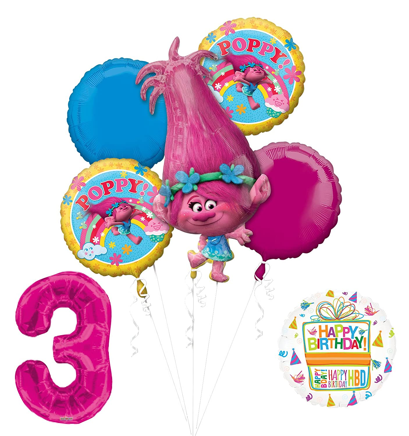 NEW TROLLS POPPY 3rd Birthday Party Supplies And Balloon Bouquet Decorations Mayflower
