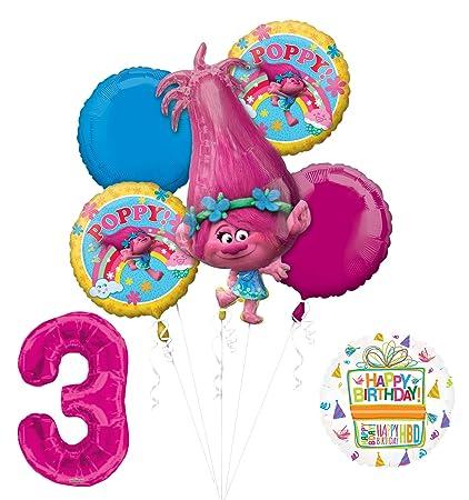 Amazon.com: Nueva trols Poppy 3rd Fiesta de cumpleaños ...
