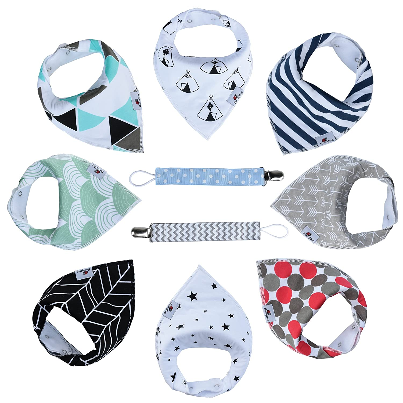 Baby Bandana Drool Bibs By HunnyBug | Organic Cotton, Handkerchief Style, Unisex Set- 8 Bibs+2 Pacifier Clips + Bonus Ebook