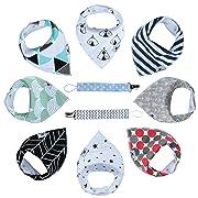 Baby Bandana Drool Bibs By HunnyBug   Organic Cotton, Handkerchief Style, Unisex Set- 8 Bibs+2 Pacifier Clips + Bonus Ebook