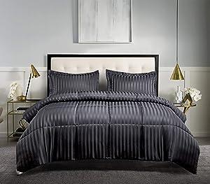 Blue Ridge Home Fashions DA-C3-KI Microfiber Damask Stripe Solid 3 Pieces Reversible Down Alternative Comforter Set - All Season Warmth, King, Black