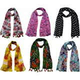 FusFus Women's Georgette Chiffon Printed Scarf (F0181, Multicolour, Free Size) -Set of 6