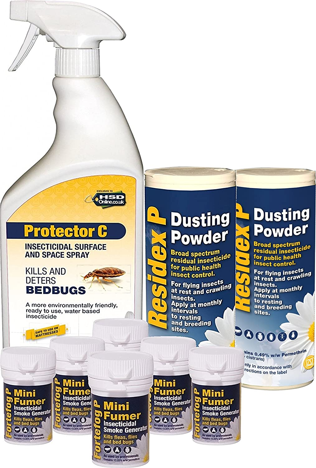 1 Litre Bed Bug Killer Treatment Spray with 2 x Residex P Dusting Powder 100G and 6 x Fortefog Mini Fumer Agropharm