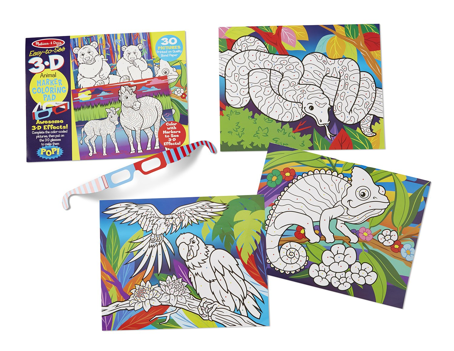 Amazon.com: Melissa & Doug Easy-to-See 3-D Coloring Pad - Animals ...
