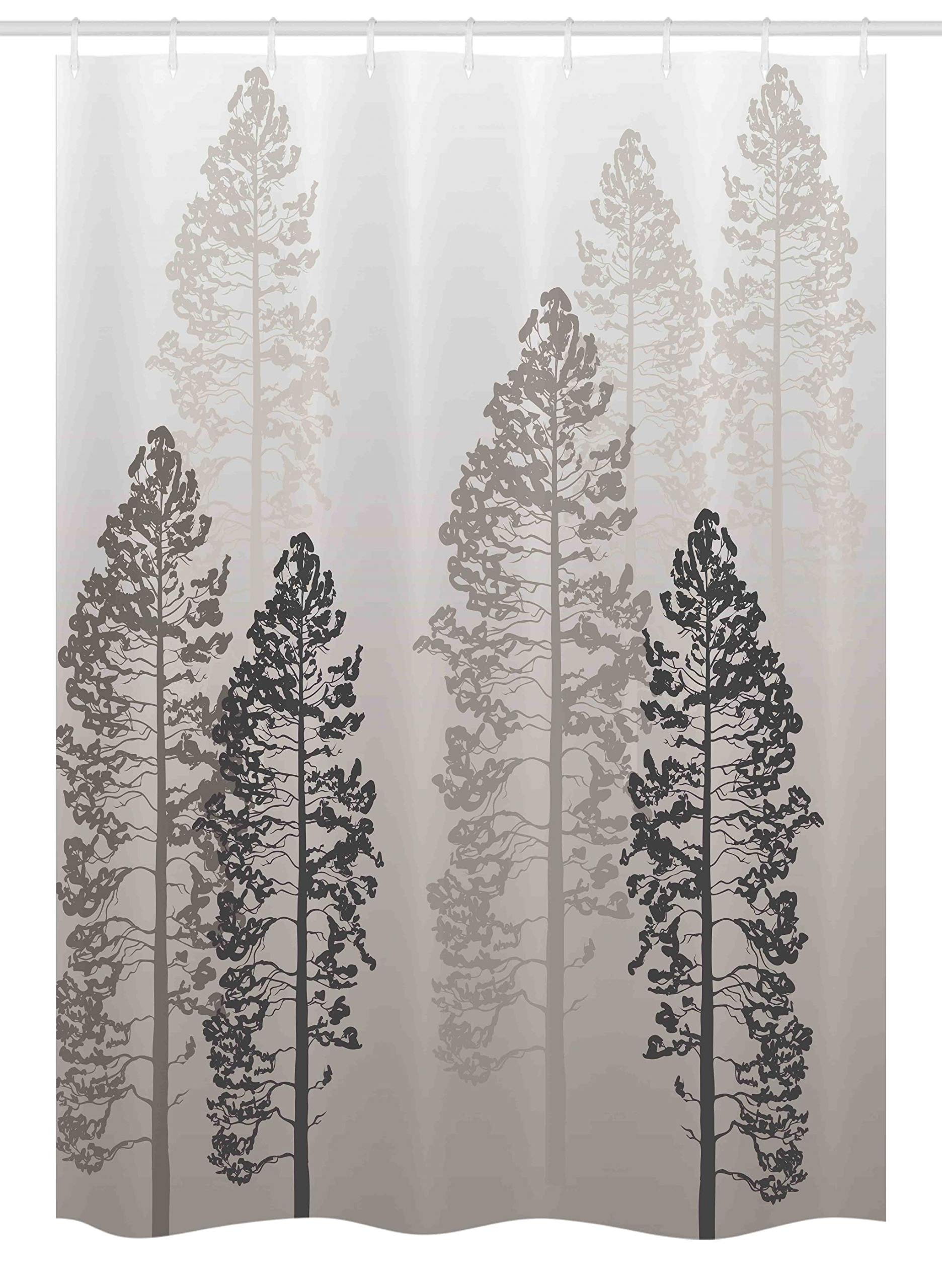 Ambesonne Country Stall Shower Curtain, Pine Trees in The Forest on Foggy Seem Ombre Backdrop Wildlife Adventure Artwork, Fabric Bathroom Decor Set with Hooks, 54'' X 78'', Light Yellow
