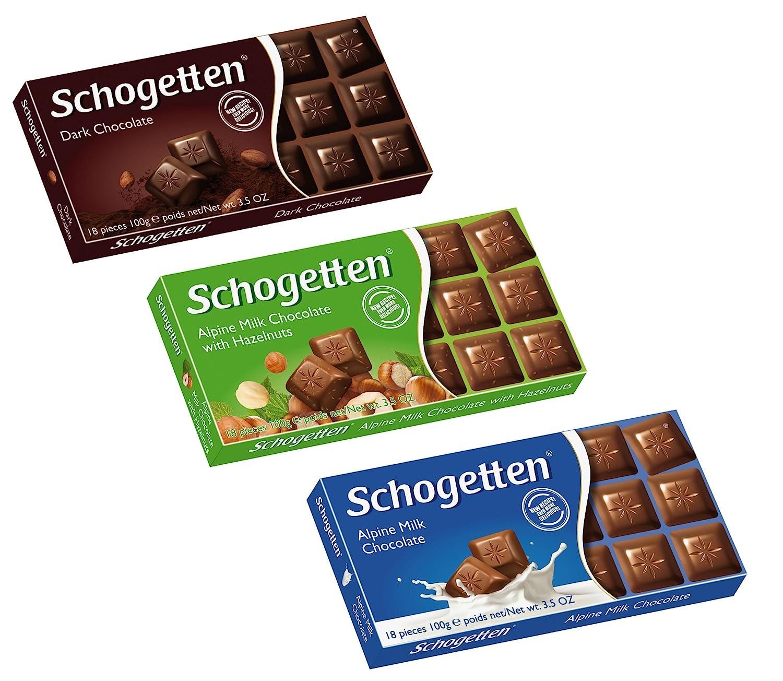 Schogetten German Assorted Chocolates, Variety Pack (Bundle of 3 chocolates)