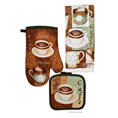 Coffee Kitchen 3 Piece Linen Towel Set with Oven Mitt and Pot Holder