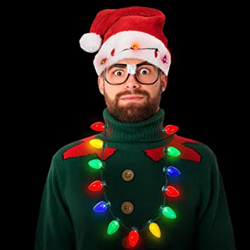 1fa2236a14ddc Amazon.com  Blinking Light-up Plush Red Santa Hat + LED Christmas Bulb Necklace  Kit for Ugly Sweater Xmas Holiday Party  Health   Personal Care