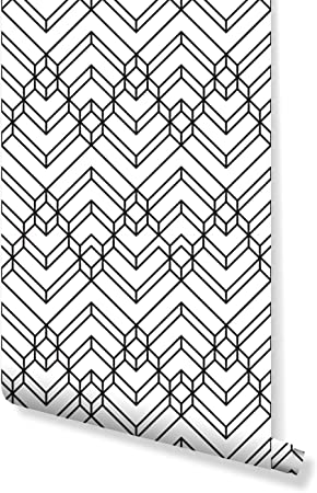 Costacover Temporary Peel And Stick Wallpaper With Vintage Abstract Black White Chevron Geometric Pattern Monochrome Lines Custom Size Cc015 24 X 48 Amazon Com