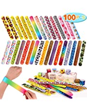 Toyssa 100 PCS Slap Bracelets Party Favors with Colorful Hearts Emoji Animal Print Design Retro Slap Bands for Kids Adults Birthday Gifts
