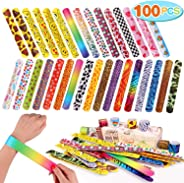 Toyssa 100 PCS Slap Bracelets Party Favors with Colorful Hearts Emoji Animal Print Design Retro Slap Bands for Kids Adults B