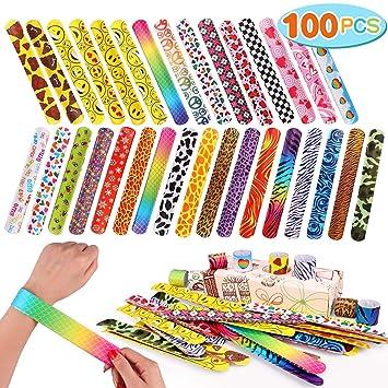 Lewo 100 PCS Banda de Bofetada Pulseras de Bofetada Favores de la Fiesta con Corazones Coloridos Emoji Animal Print Bandas de Palmadas Retro para ...