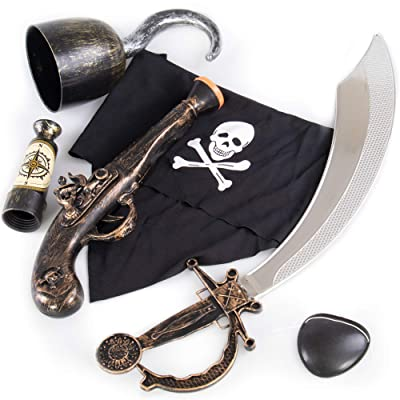 Caribbean Pirate Accessory Kit for Kids - Cool Extras for Kid Halloween Costume for Girls & Boys - Classic Plastic Cutlass Sword, Hook, Spyglass Telescope, Pistol, Eyepatch, & Cloth Bandana, 6 Pieces: Clothing