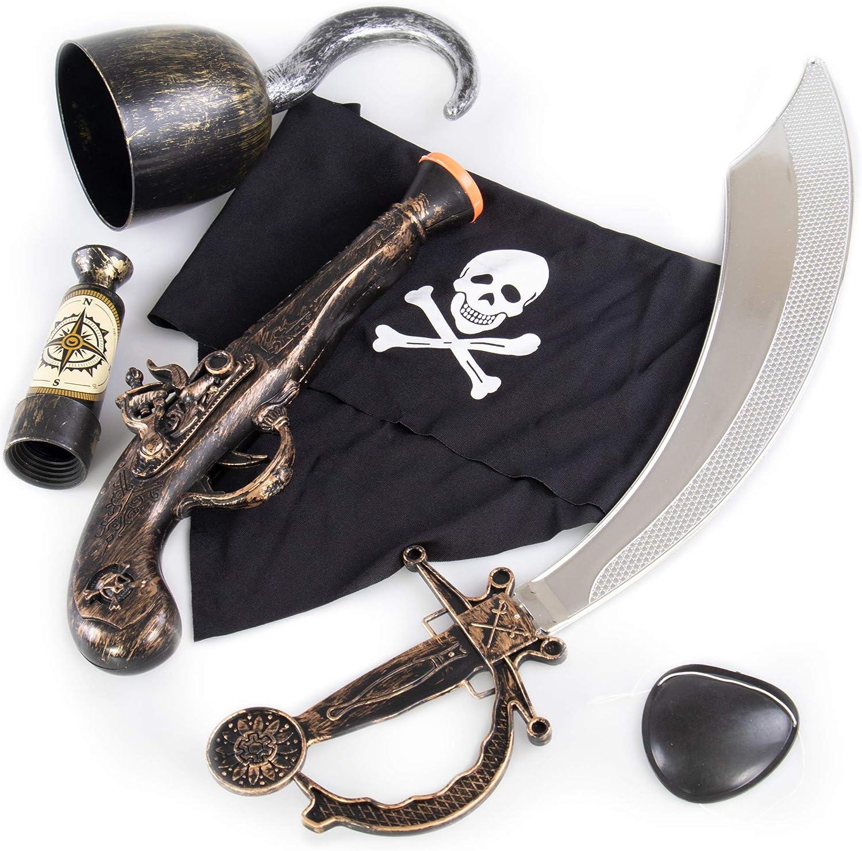 1 4 x Kids Pirate Sword EARRING /& EYEPATCH Fancy Dress Set Eye Patch Party 2