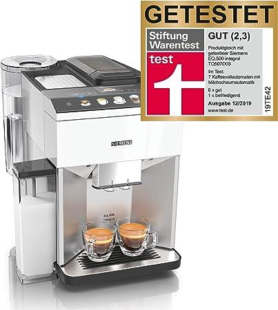 Siemens TQ507D02 EQ.500 integral - Cafetera automática, fácil de usar, recipiente para leche integrado, dos tazas al mismo tiempo, 1.5, color blanco: Amazon.es: Hogar