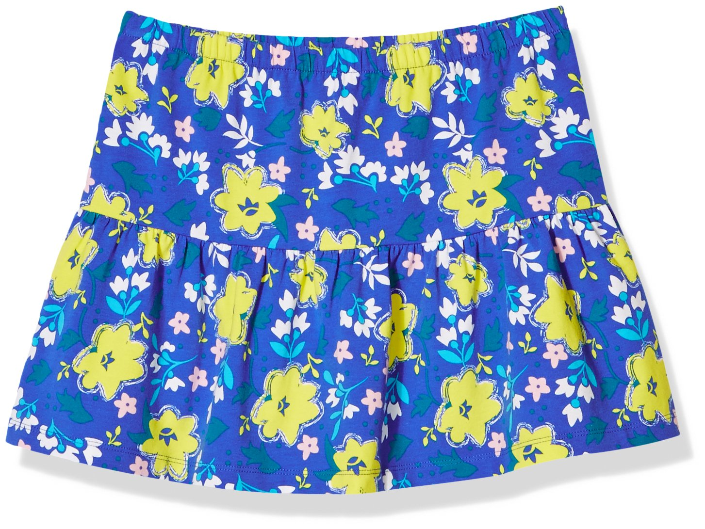A for Awesome Girls Casual Ruffle Pull On Skirt X-Large Ellis Blue Floral AOP