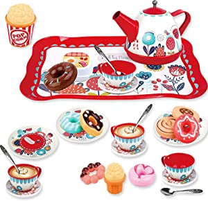 PP PICADOR Pretend Play Set 29 Pieces Tin Tea Party for Little Girls, Princess Kitchen Toys Set Include Dessert,Cookies, Tea Cup Gift for Age 3+ Year Old Kids Toddlers Child (Red)