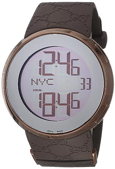 Gucci YA114209 - Reloj (Reloj de Pulsera, Oro PVD, Marrón, Caucho,