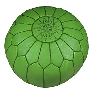 Amazon.com: Marroquí bordado de piel Pouf/Otomano, Verde ...