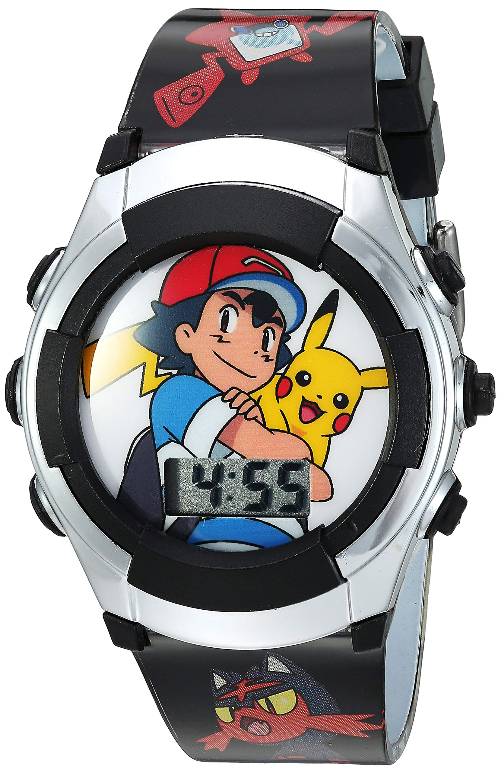 Pokémon Kids' Watch with Flashing LED Lights – Kids Digital Watch with Official Pokémon Characters on the Dial, Childrens Watch with Easy Buckle Strap, Kids Digital Watch, Safe for Children